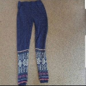 So Blue White Winter Pattern Sweater Leggings